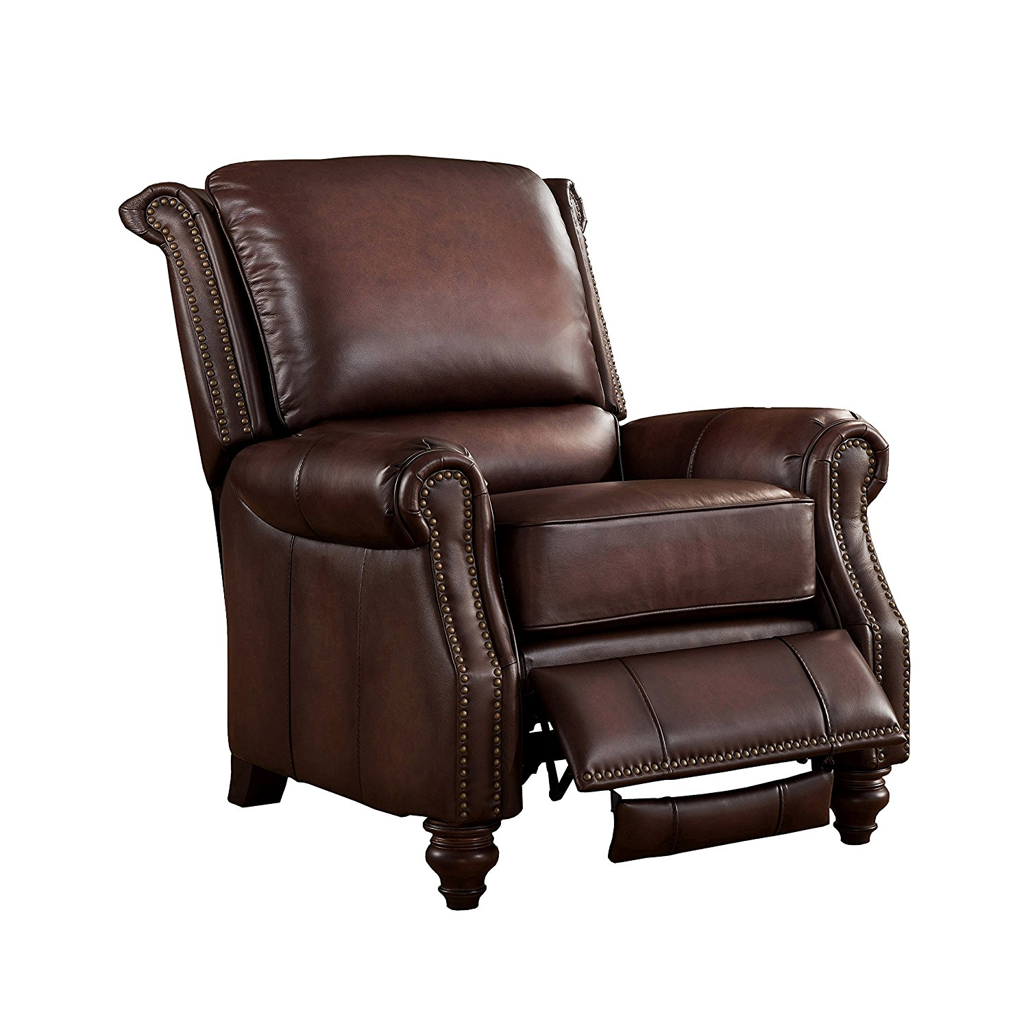 Amax Leather Churchill 100% Leather Recliner, Brown