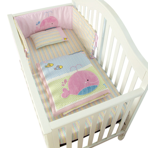 Baby bedroom sets cotton whale applique pink baby bedding