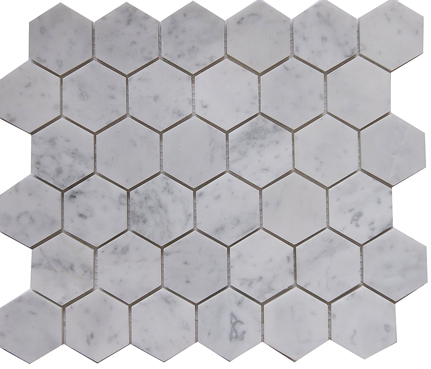 "Carrara White Marble Mosaic Tile, CWMM2HEX, Chip Size 2"" Hexagon, 12""X10""X3/8"", Polished (Box of 5 Sheets)"