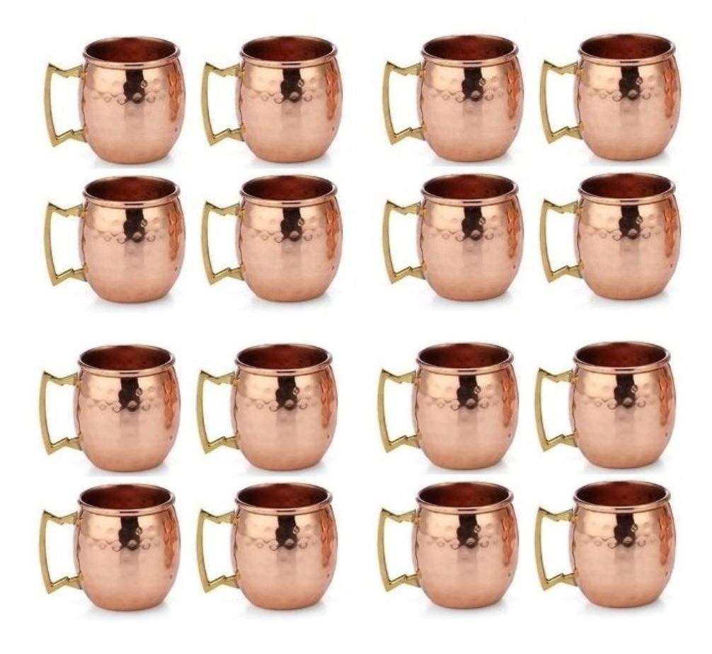 Buddha4all 2 Oz. Solid Copper Mini Moscow Mule Shot Mug Set Authentic 100% Solid Copper Hammered Moscow Mule Mug 2-Oz Shot Glass - Set