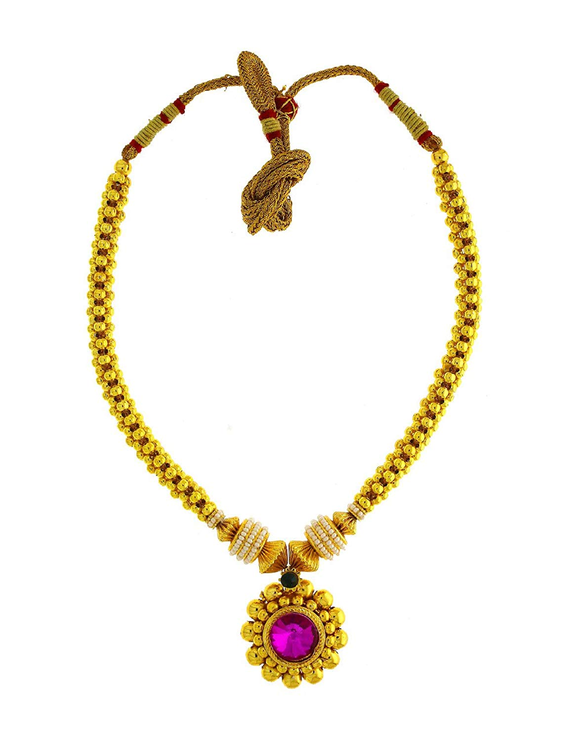 Anuradha Art Golden Finish Styled With Pink Colour Stone Designer Maharashtrian Look Thushi Necklace For Women/Girls