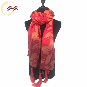 New Style flowers red thin custom digital print chinese scarf