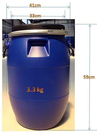 50L painted empty steel drum with lever lock ring for inks without handle