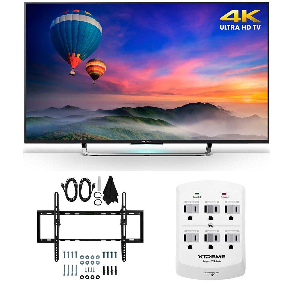 Sony XBR-43X830C - 43-Inch 4K Ultra HD Smart LED HDTV Flat & Tilt Wall Mount Bundle includes XBR-43X830C 43-Inch 4K TV, Flat & Tilt Wall Mount Kit Bundle and 6 Outlet Wall Tap w/ 2 USB Ports