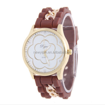 China Factory Wholesale Cheap Price Fashion Beautiful flower Women Wrist Watch Silicone Lady Watch
