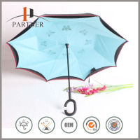 Creative Gifts Fashion Butterfly/Hollow Pattern Kazbrella Umbrella with C Shape Black Rubber Handle