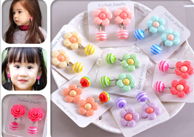 Customized Plastic Children Earrings No Pain Invisible Clip For Kids New Design Earring Jewelry