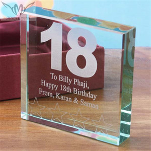 Personalized Glass Engraved Birthday Block for Elegant 18th Birthday Souvenirs