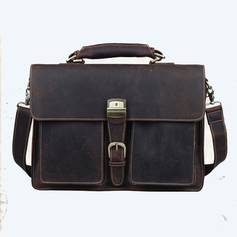 429df9aacc Get Quotations · Mens Vintage Official 41 14 30cm Genuine Full Grain Crazy  Horse Cow Leather Briefcase