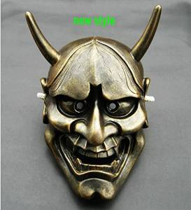 Japanese Buddhist Evil Oni Noh Hannya Mask masquerade prop collection white red