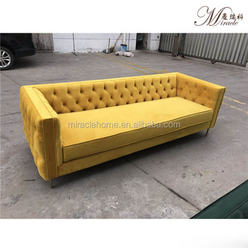 Living room pink&yellow custom color velvet tufted wedding event couch sofa set