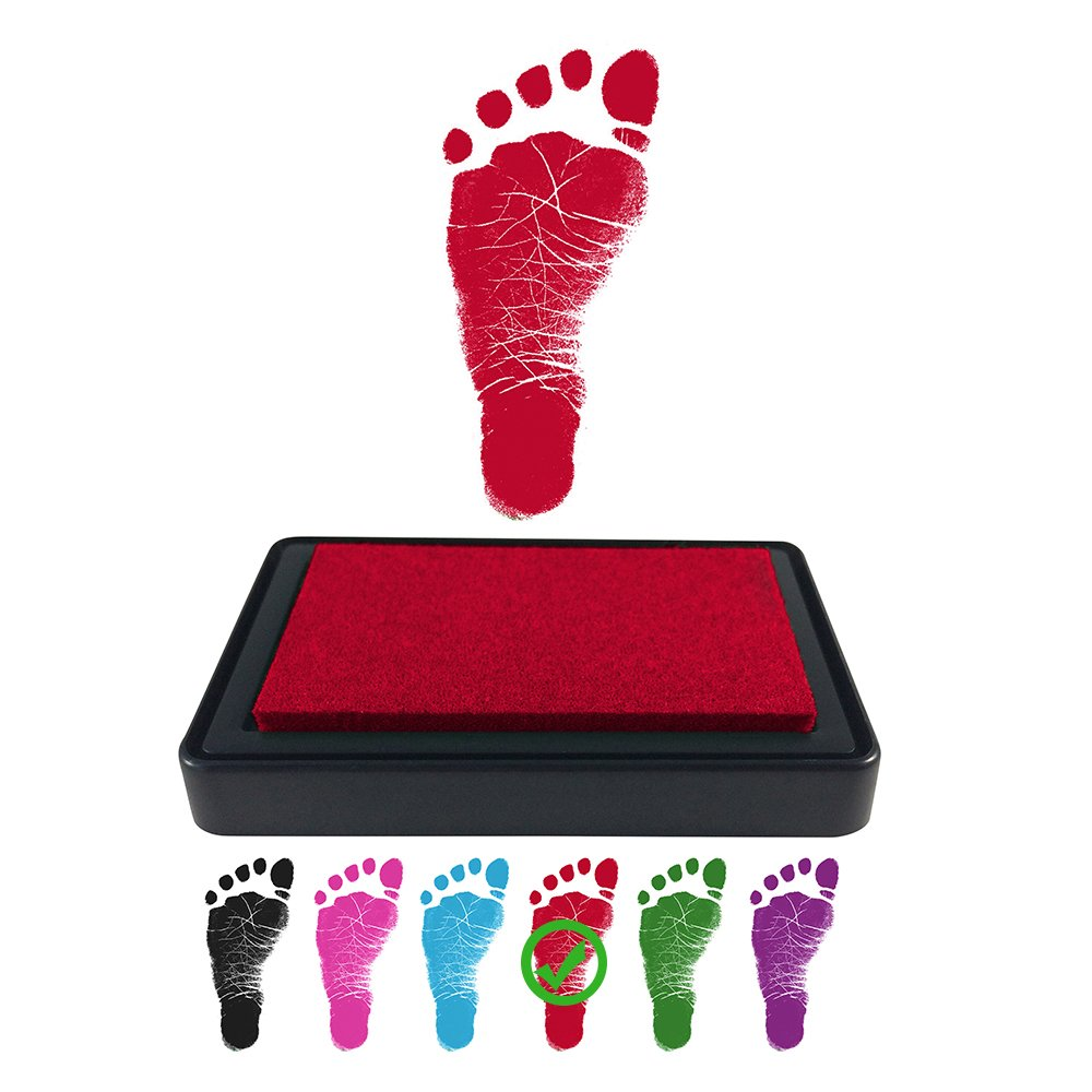 ReignDropBaby Baby Footprint Handprint Ink Pad - Create Impressive Keepsake Stamp - 100% Non-Toxic & Acid-Free Ink - Easy to Wipe/Wash Off Skin - Smudge Proof & Long Lasting Keepsakes (RED)