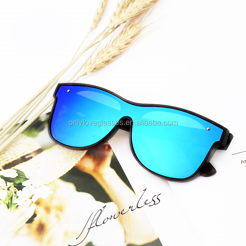 Cool  New designer  Fashion style one piece lens  mirror polarized bamboo sunglasses wholesale in China