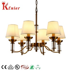 Factory made indoor retro hotel home fabric shade pendant lamp industrial iron Chandelier