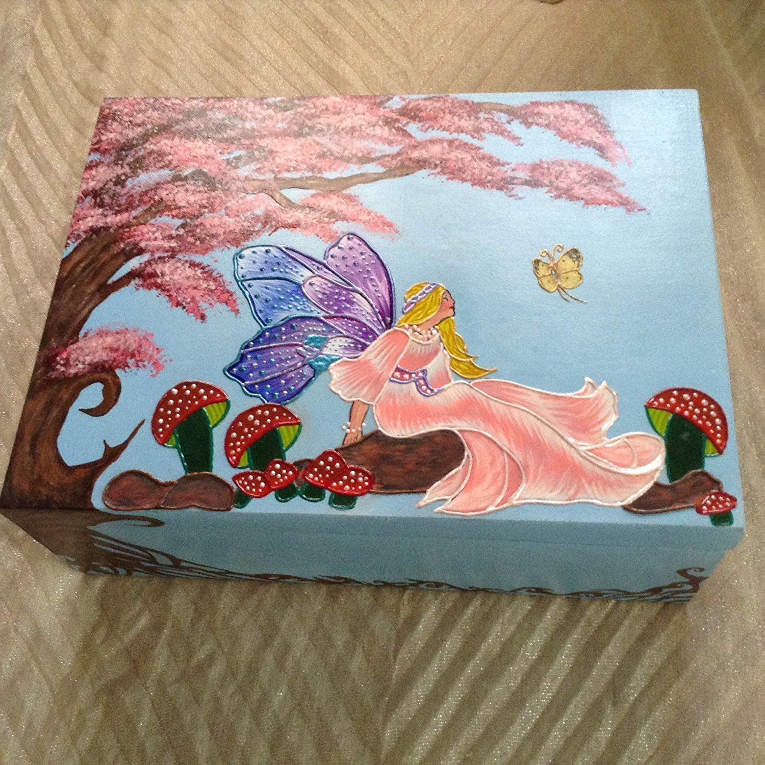 Get Quotations Fairy Painting Keepsake Box Wooden Trunk Personalized Customizable Name Decorative