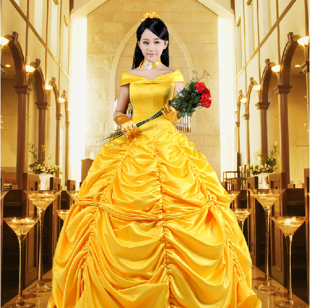 2c9262dfec Animation Characters Disney Beauty and the Beast Belle Princess Evening  Party Dress Costume Cosplay
