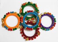 Silk Thread Pair Wrapped Bangle Set Multi colored Fashion India Women Jewelry