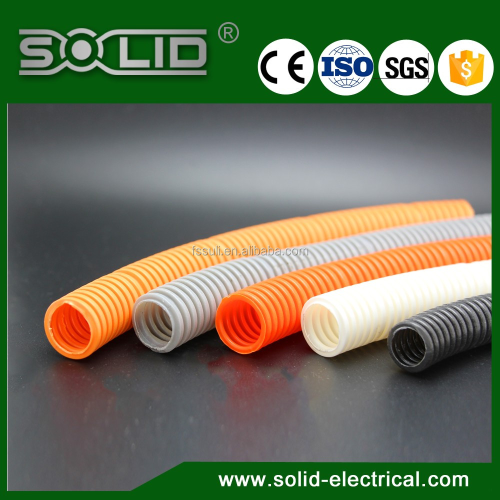 Flexible Orange color PA6 Corrugated /spiral Split Plastic Tube