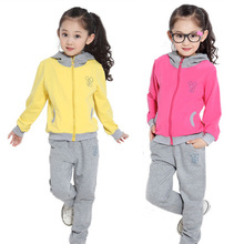 Children's clothing female child 2014 spring and autumn child casual sports twinset