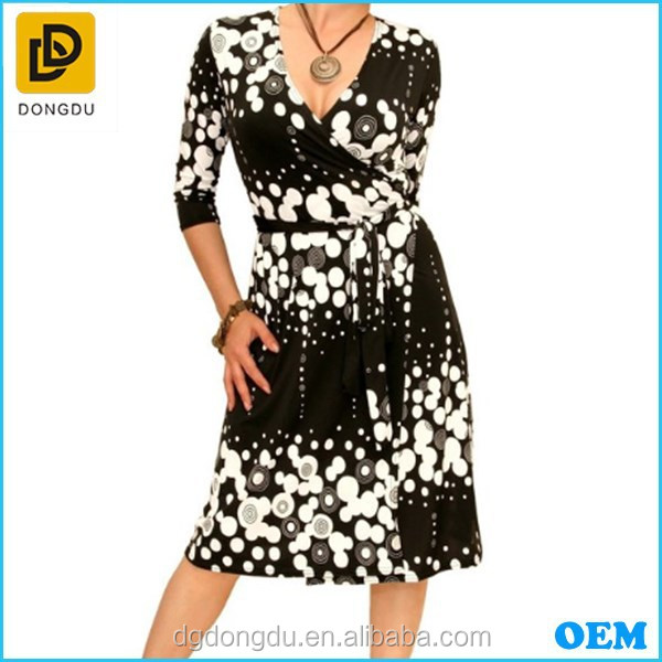 2015 Black and White Patterned Wrap Dress