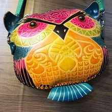 New model cartoon owl shape handmade genuine leather shoulder sling bag