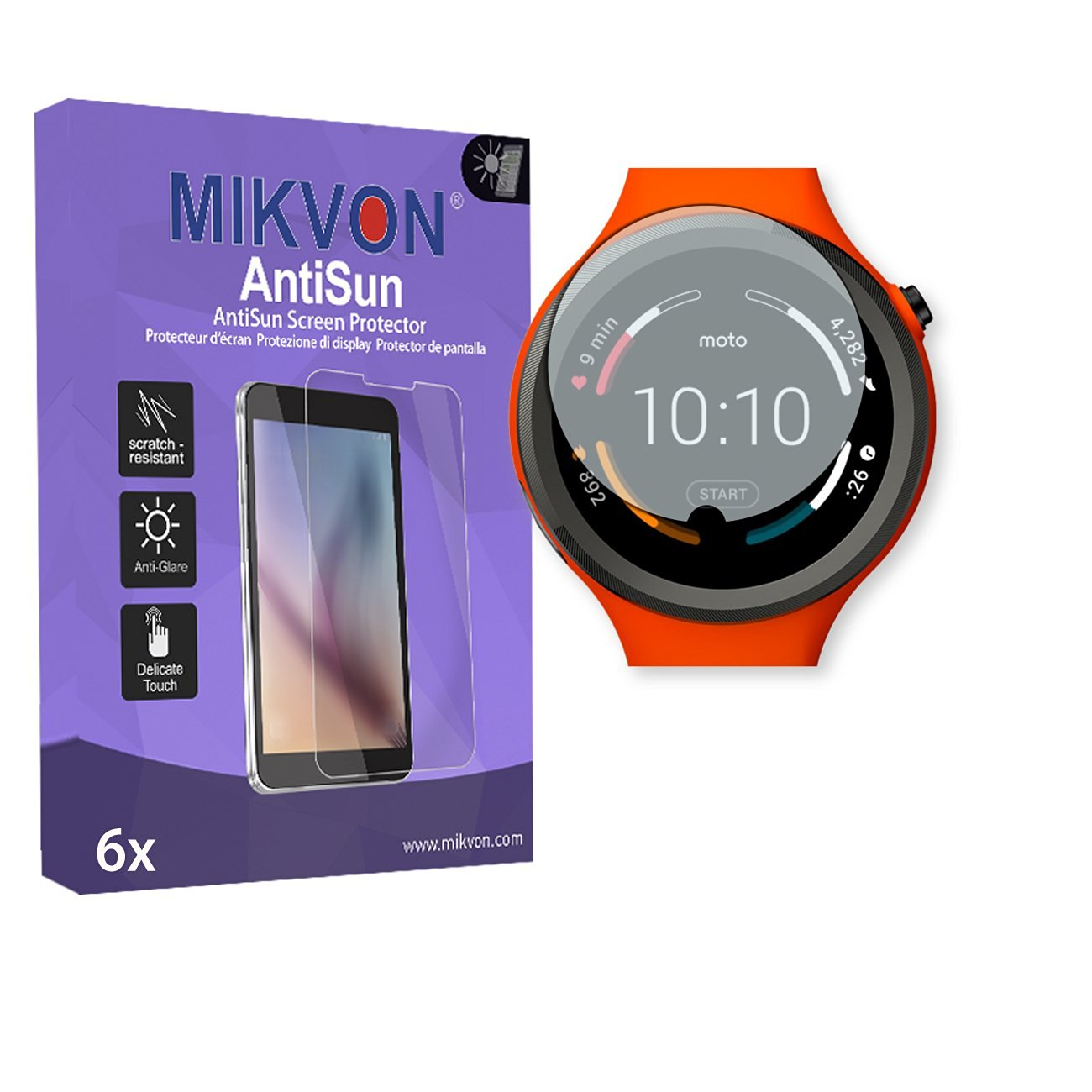 6x Mikvon AntiSun Screen Protector for Motorola Moto 360 Sport Smartwatch - Retail Package with accessories (intentionally smaller than the display due to its curved surface)