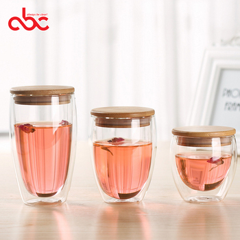 250ml 350ml 450ml Double Wall Glass Cup with Bamboo Lid