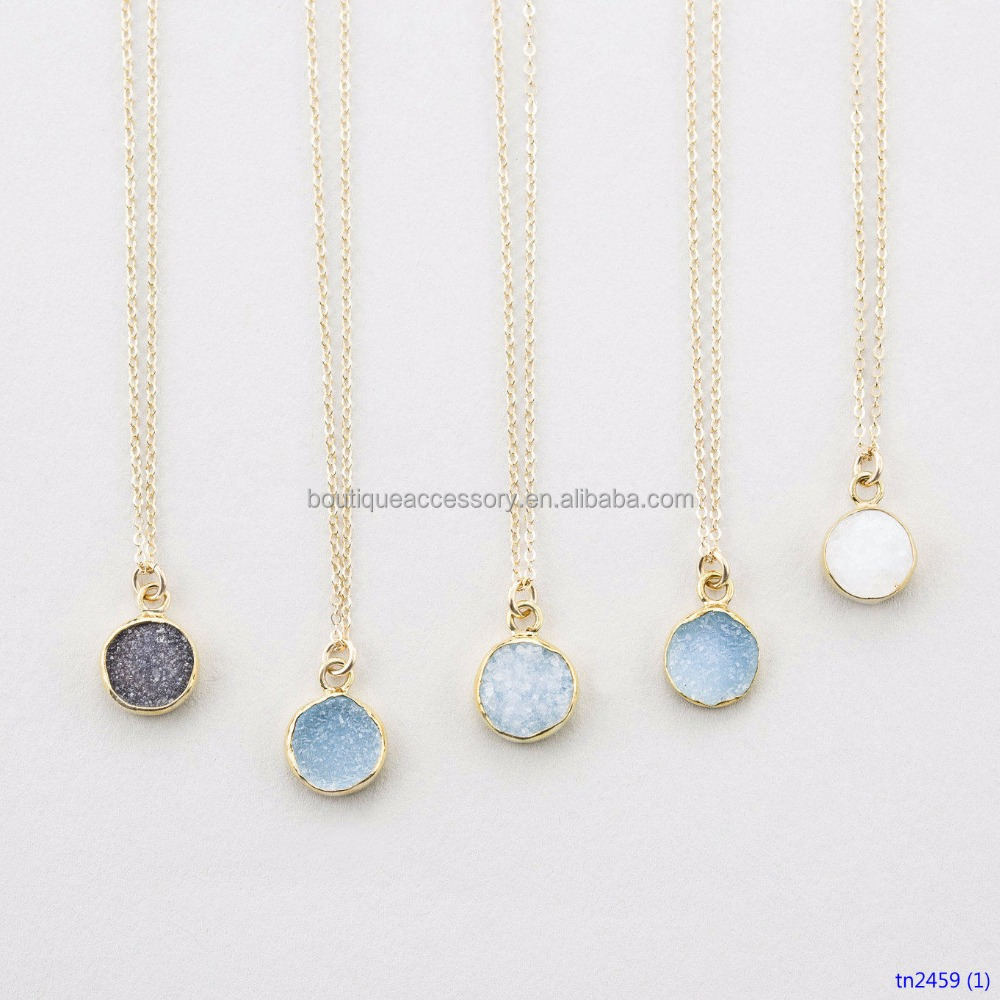 Tiny Round Druzy Pendant Necklace Gold Edged Druzy Crystals Genuine Simple Gemstone Necklace