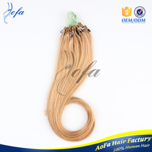 Alibaba Hot 100% quality human remy hair Mrico Ring/U andI tip hair prebonded extension