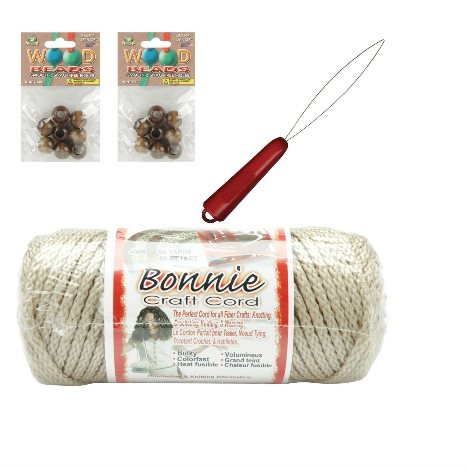 "Macrame kit; Bonnie Craft Cord Bundled with Wooden Beads, 2 2"" brass rings, and EZ Beader"