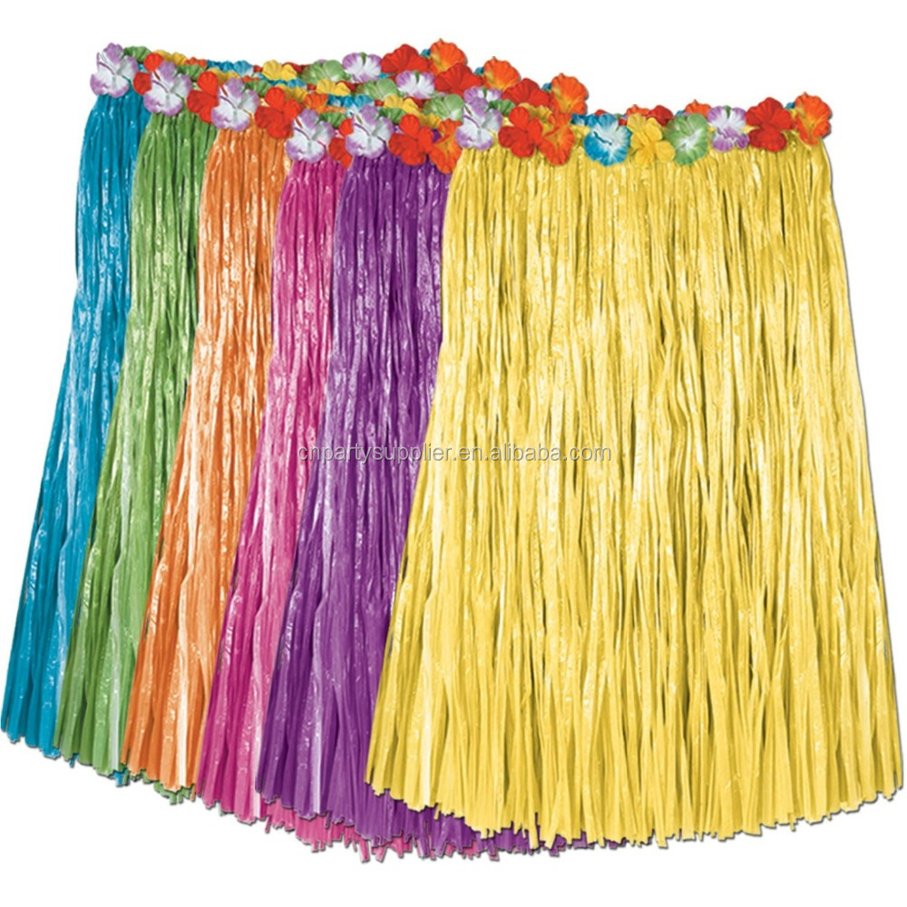 Wholesale Party Dress Hawaii Dancing Plastic Hula Skirt