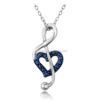 PES Fashion Jewelry! Blue Diamond Accent Musical Note Heart Pendant Necklace (PES3-1142)