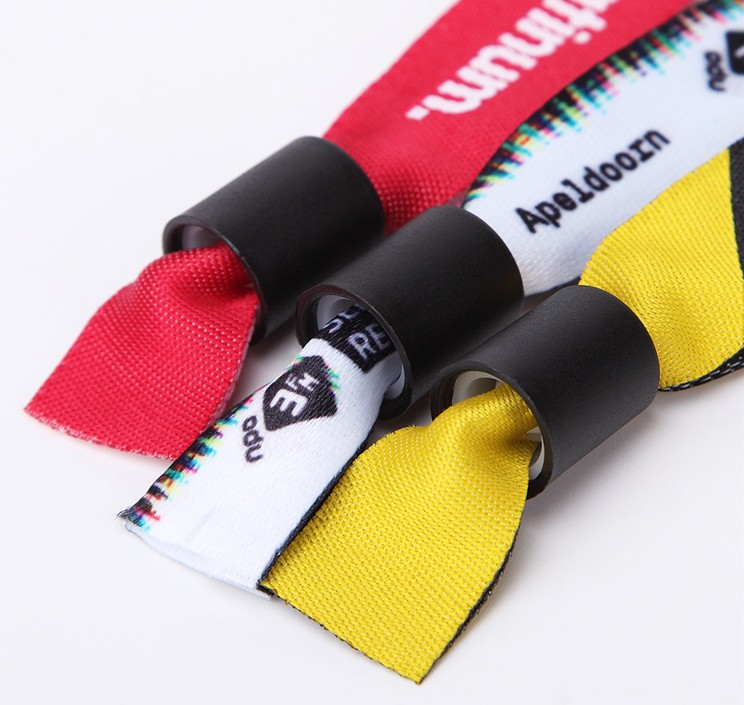 Oempromo customized polyester woven wristband for events