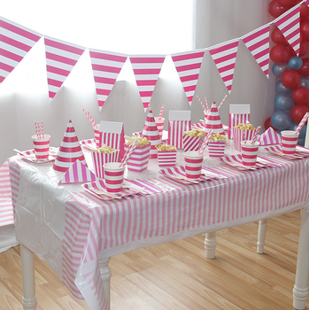 Happy Birthday Party Supplies Rose Red Stripe Disposable Table Decoration For Children Tableware