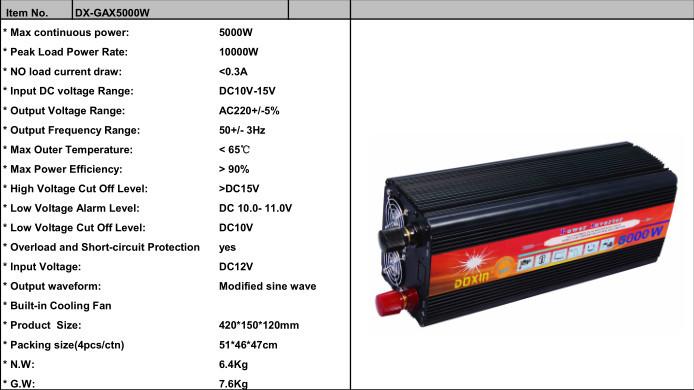 5000w Power Converter Dc To Ac 5kw Power Inverter 12v 220v