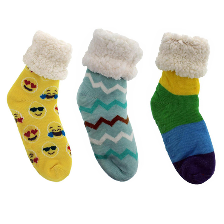 2020 Womens Thick Knit Fuzzy Non-Slip Crew Socks Sherpa Lined Cozy Thermal Fuzzy Slipper Socks With Grippers фото