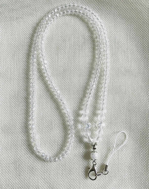 Crystal Style Fashion Women's Beaded Lanyard for Keys, ID Badge Card Holder,Badge holder-1pack(WHITE)