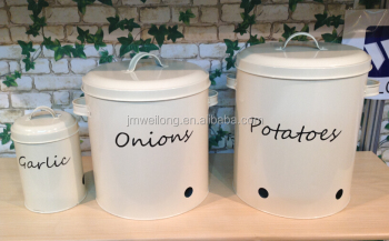 White Powder Coating Metal Food Storage Bin Buy Potato Storage