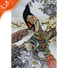JH165 Customized Handmade Glass Mosaic Wall Art Mural Peacock Mosaic Tiles Pattern