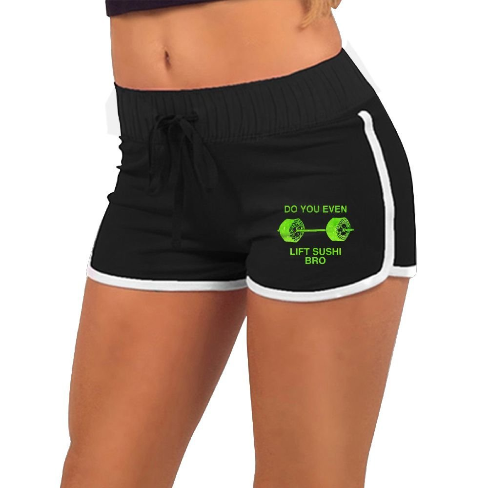 003c975846a740 Get Quotations · Do You Even Lift Japanese Sushi Bro Women's Yoga Running  Workout Shorts Athletic Elastic Waist