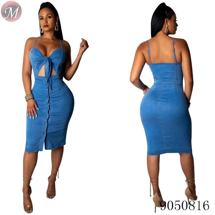 Alibaba.com / 9050816 casual solid loose off shoulder maxi long women denim dress