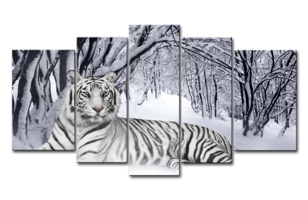 Canvas Print Wall Art Painting For Home Decor,White Tiger In Snow Forest 5 Pieces Panel Paintings Modern Giclee Stretched And Framed Artwork Oil The Picture For Living Room Decoration,Animal Pictures Photo Prints On Canvas
