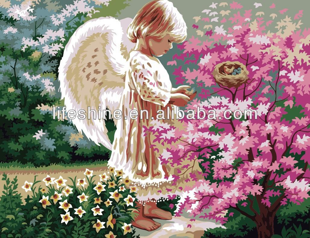 "Oil painting by number with fasncy canvas painting patterns""Angel"""