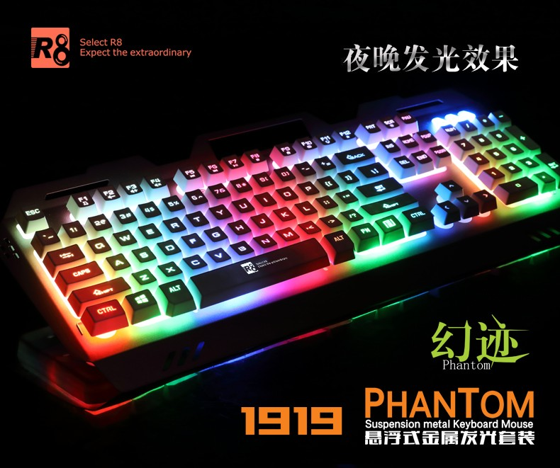 ab5b0dd7a53 R8 Gaming Keyboard and Mouse Combo-USB Wired LED Backlit Keyboard and Mouse  Set-