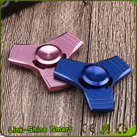 High Quality CNC Metal Aluminum Alloy Three Impellers Leaf Hand Fidget Spinner with Tin Box