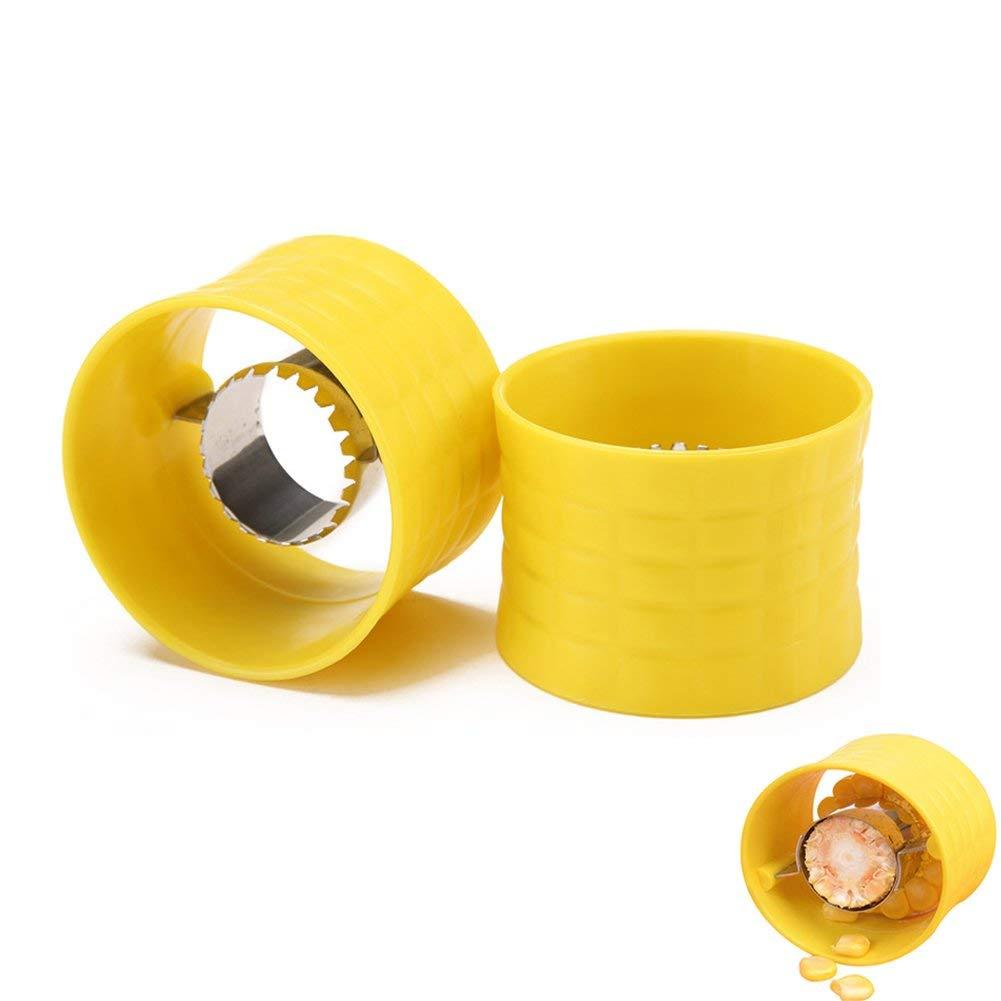 Cob Corn Stripper, Creative Kitchen Gadgets, LITOON Corn Stripper Cob Cutter Remove, Stainless Steel Corn Cob Peeler Remover,Peel Corn Grain 3 Pack (1, Yellow)