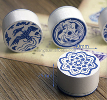 Blue and White Porcelain stamp/blue white chines Seal Vintage Diary Diary Seal with Opp 6 Patterns/with logos