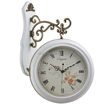 Decor Wood White Double Sided Station Clock Wall Roman Numerals Hanging