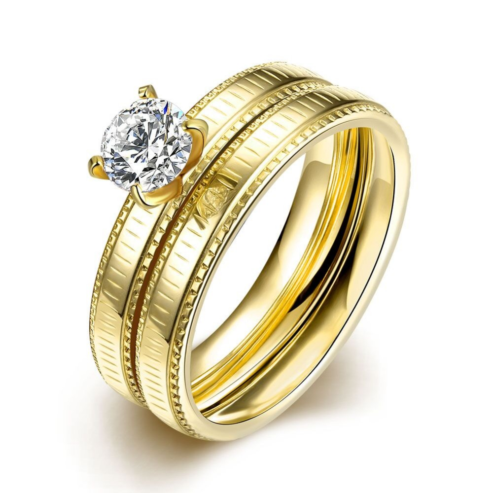 Stainless Steel Yellow Gold Plated White Crystals Cz Fashion Ring ...
