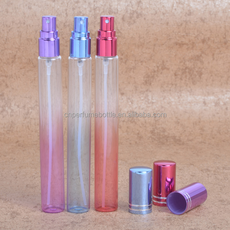 MUB wholesale 20ml colored glass <strong>spray</strong> bottles refillable glass test tubular <strong>spray</strong> perfume bottles with aluminum sprayer pumps